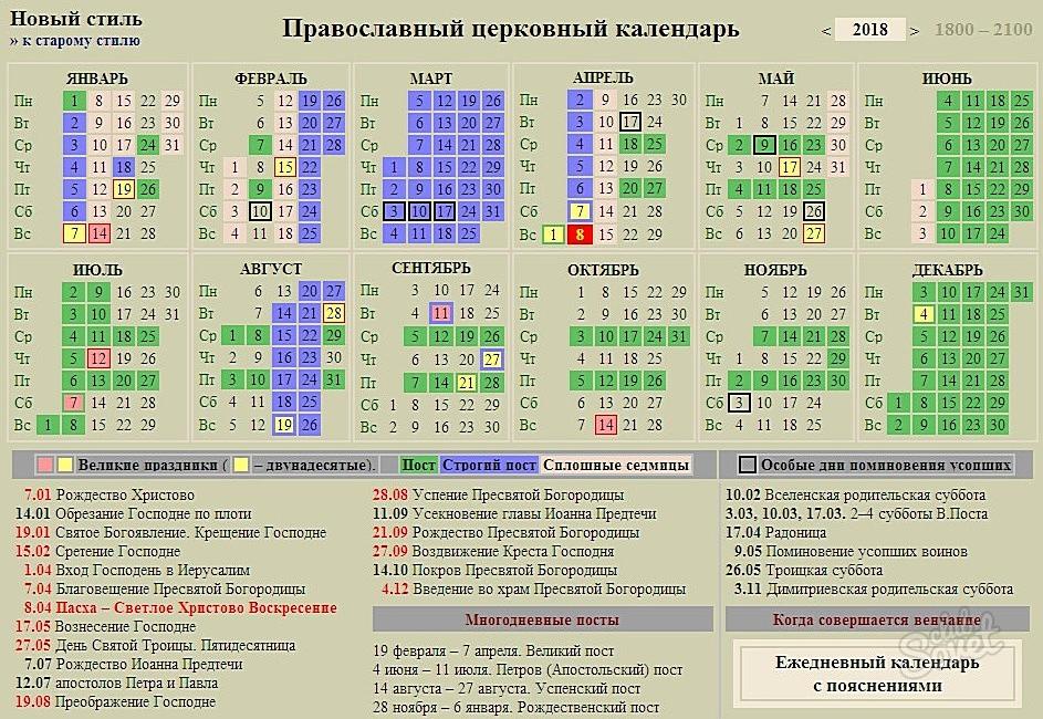 Православный календарь 2017-2018 год праздники