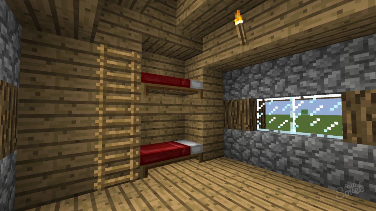 Как сделать в майнкрафте двухэтажную кровать