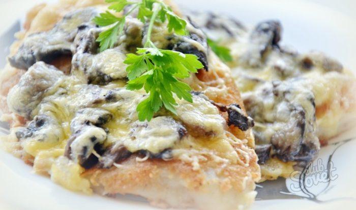 Рыба с грибами в духовке рецепт