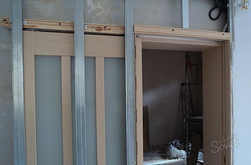Дверь-купе межкомнатная в стене