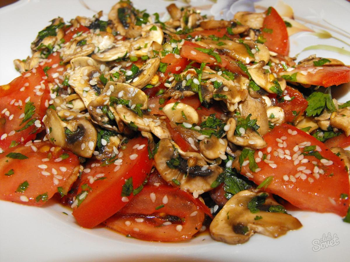 Салат с курицей помидорами грибами и сыром рецепт пошагово