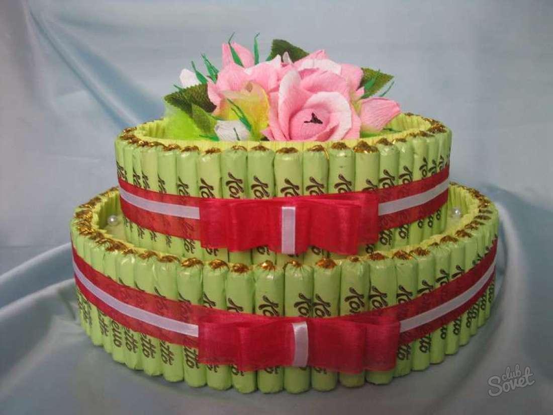 Торт из конфет для женщины своими руками