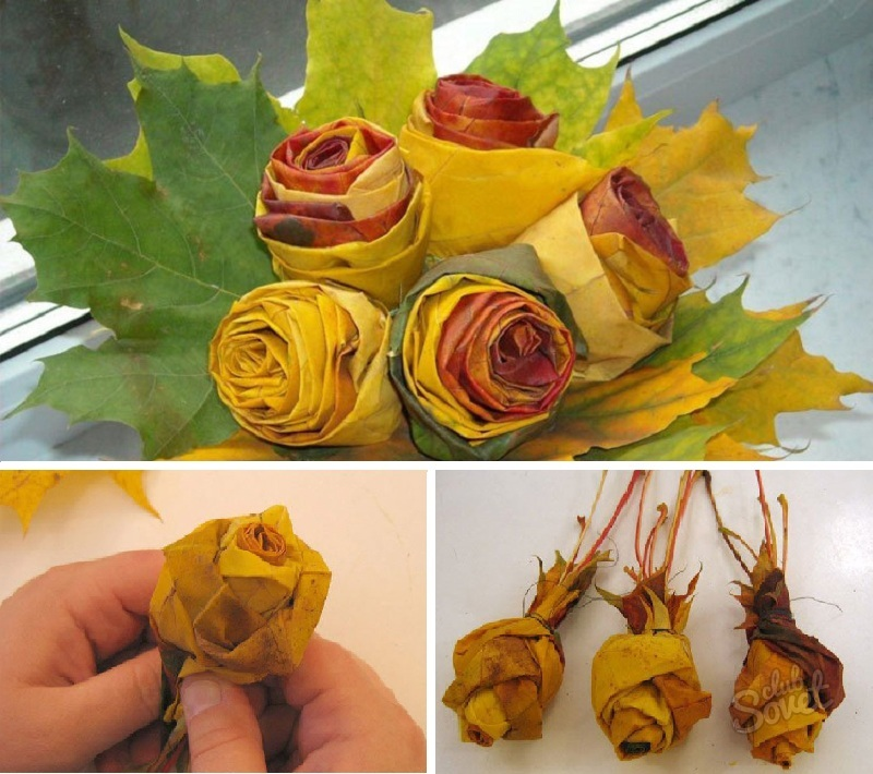 Как сделать розы из кленовых листьев своими руками поэтапно