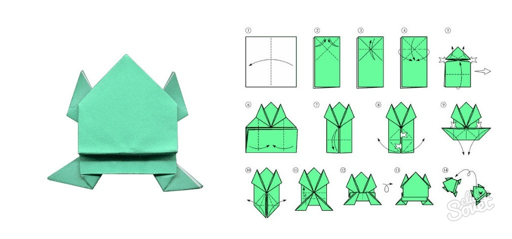 Как делать лягушку из бумаги пошаговая инструкция