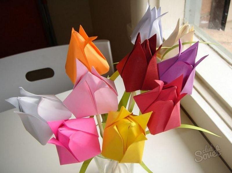 Как сделать букет тюльпан из бумаги