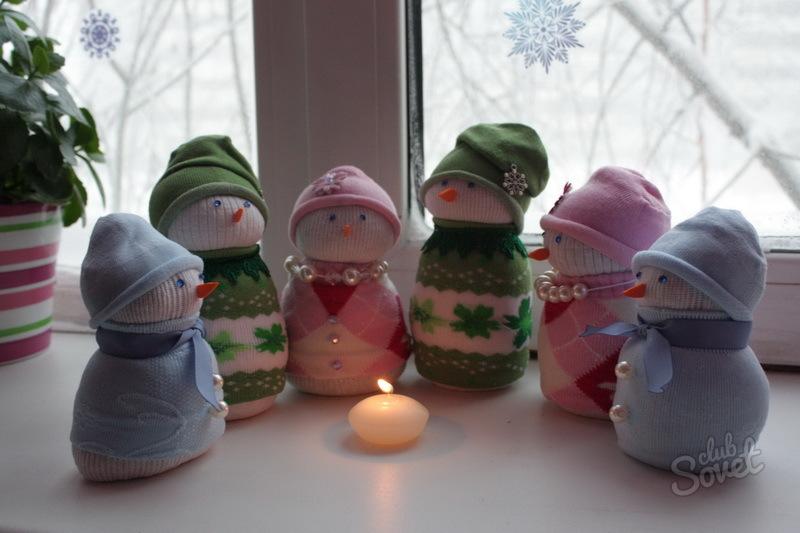 Поделка своими руками снеговик из носка