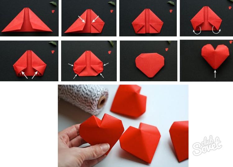 Оригами из бумаги объемное сердце из бумаги своими руками 8