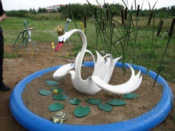 Как сделать лебедь из покрышки своими руками