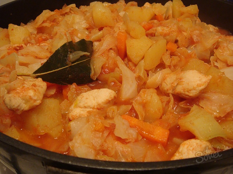 Тушеная капуста с мясом и картошкой в мультиварке рецепт с пошагово в