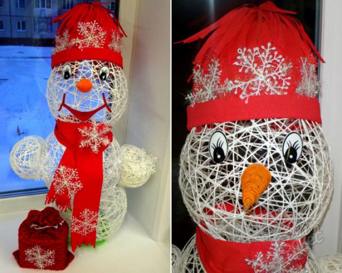 Снеговик с ниток своими руками