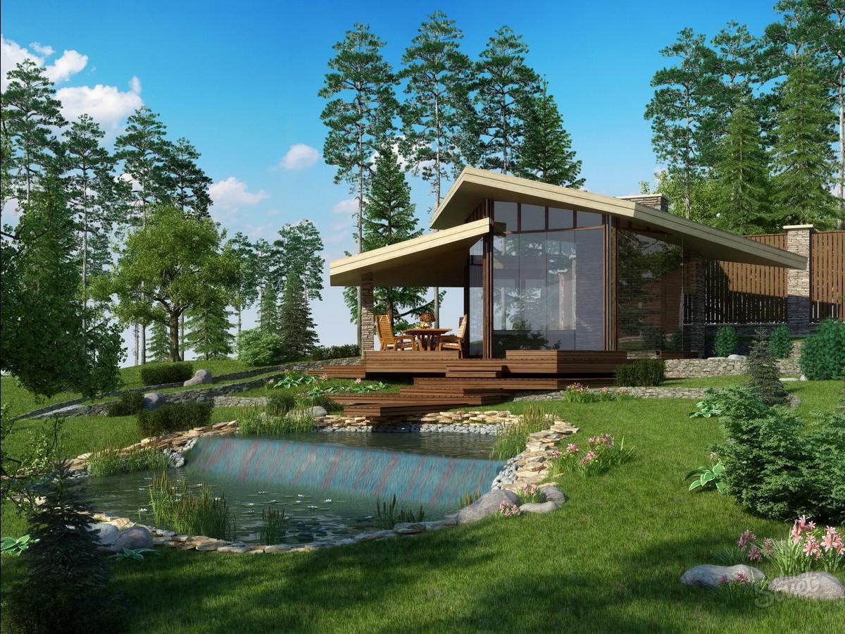 Дизайн участка частного дома фото