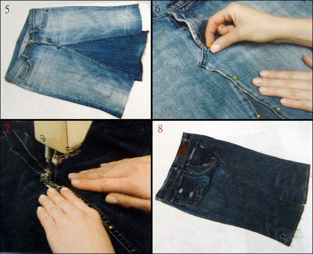 Как сшить юбку брюки из джинса