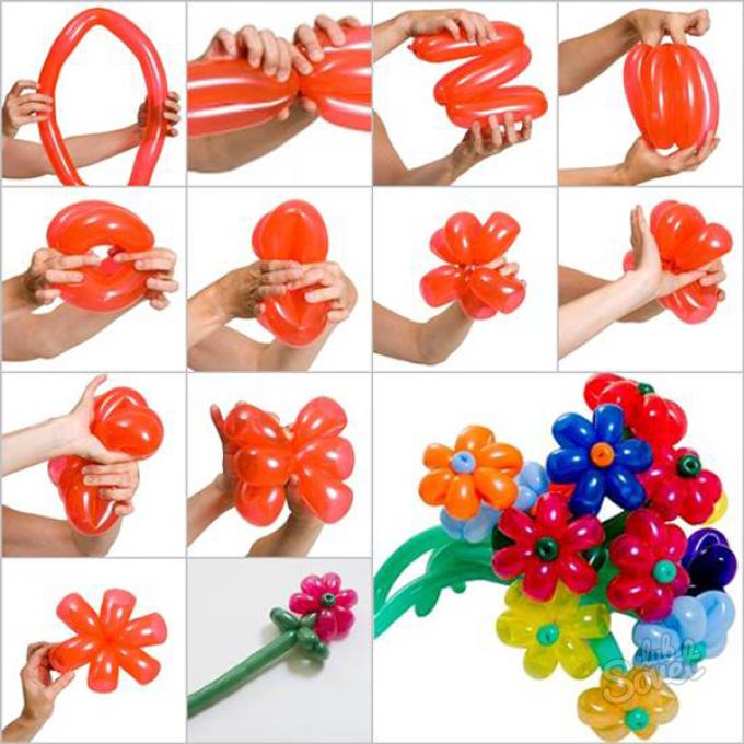 Как сделать цветок из длинного шарика в