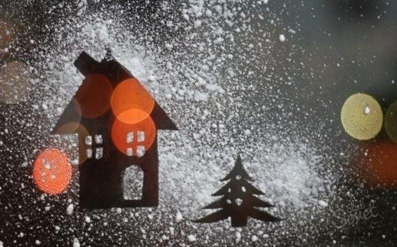 Как сделать снег искусственный на окно