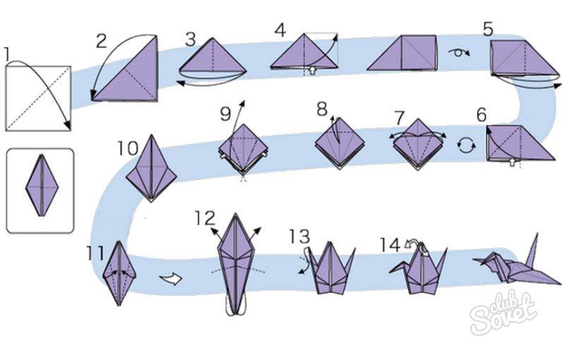 Как сделать из бумаги журавлика оригами поэтапно