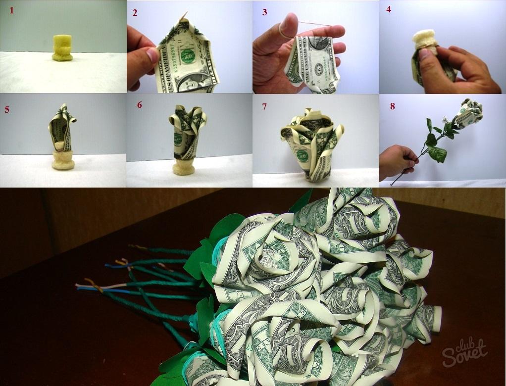 Цветок из денежной купюры своими руками 915