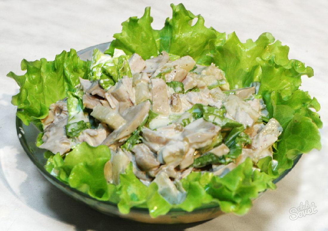 Салат курица ананас грибы рецепт