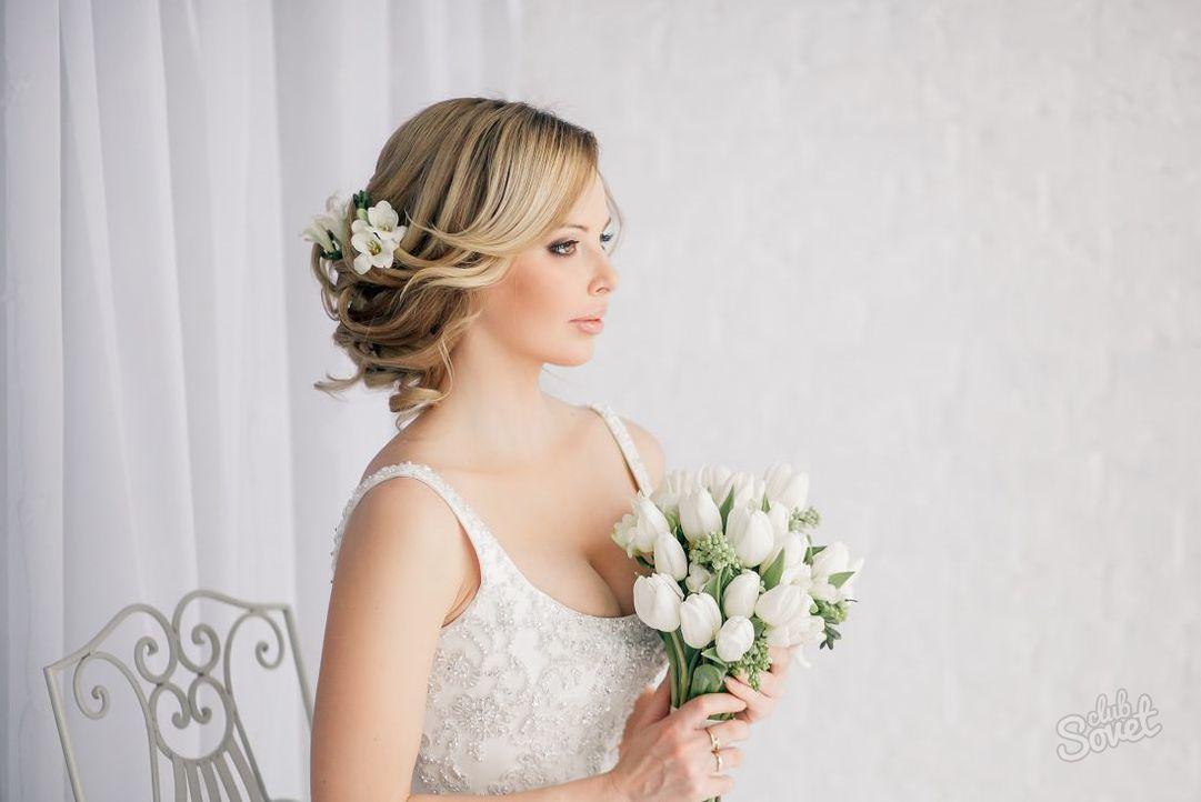 Причёска на средние волосы на свадьбу своими руками