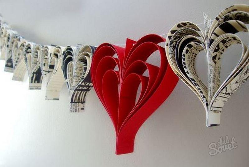 Украшения из бумаги сердец своими руками