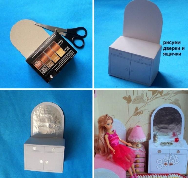 Как сделать из картона мебель для куклы барби