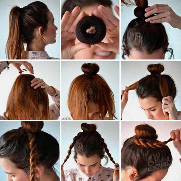 Как волосы сделать в шишку с резинкой