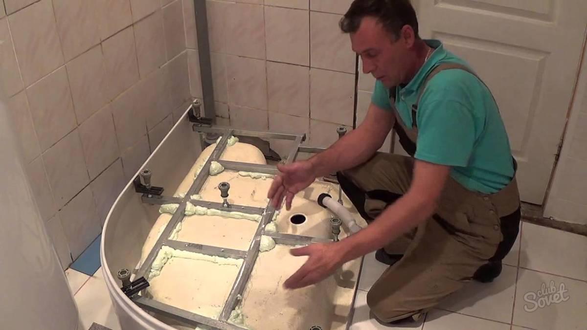 Установка поддона в ванной своими руками видео