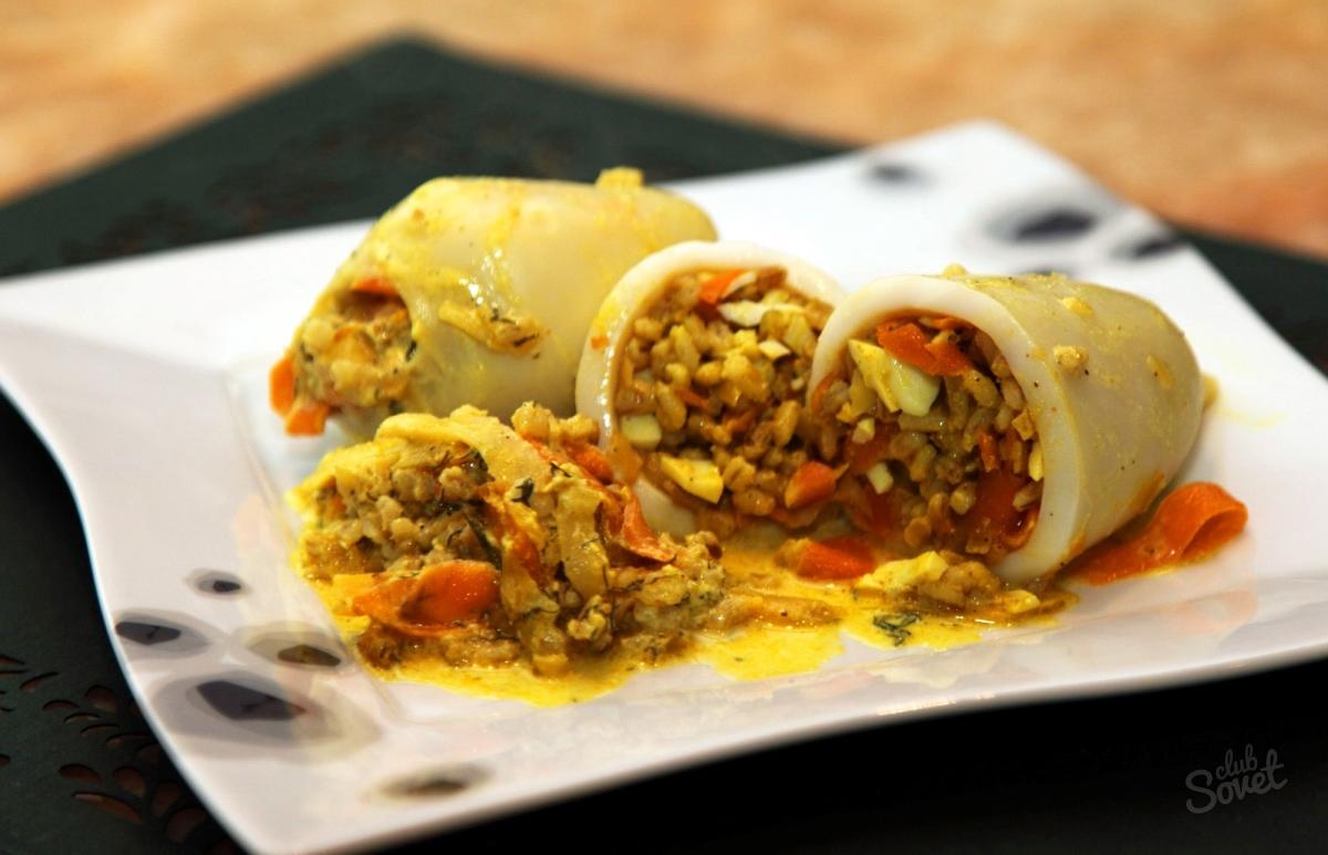 Кальмары с яйцом и рисом рецепт