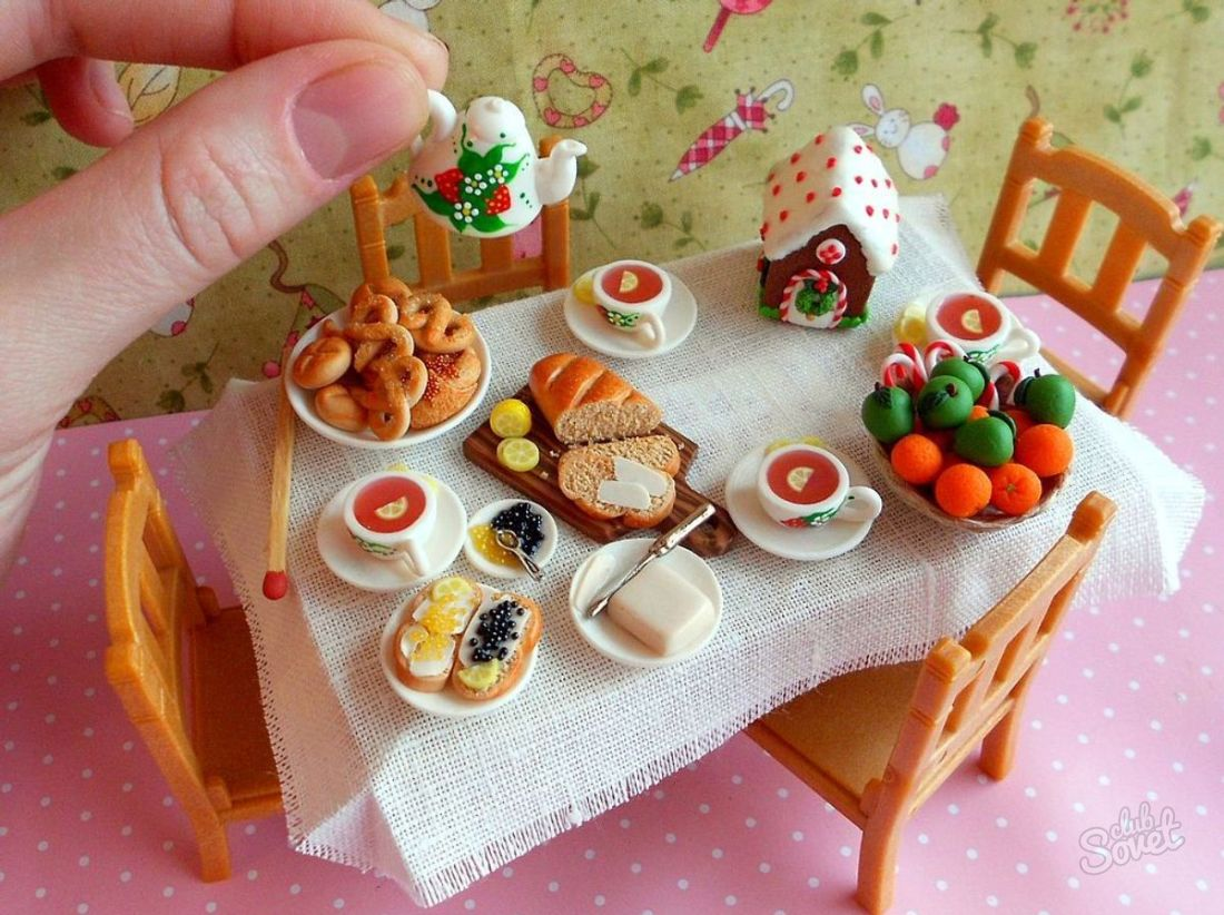 Как сделать для кукол посуду и еду из пластилина для кукол