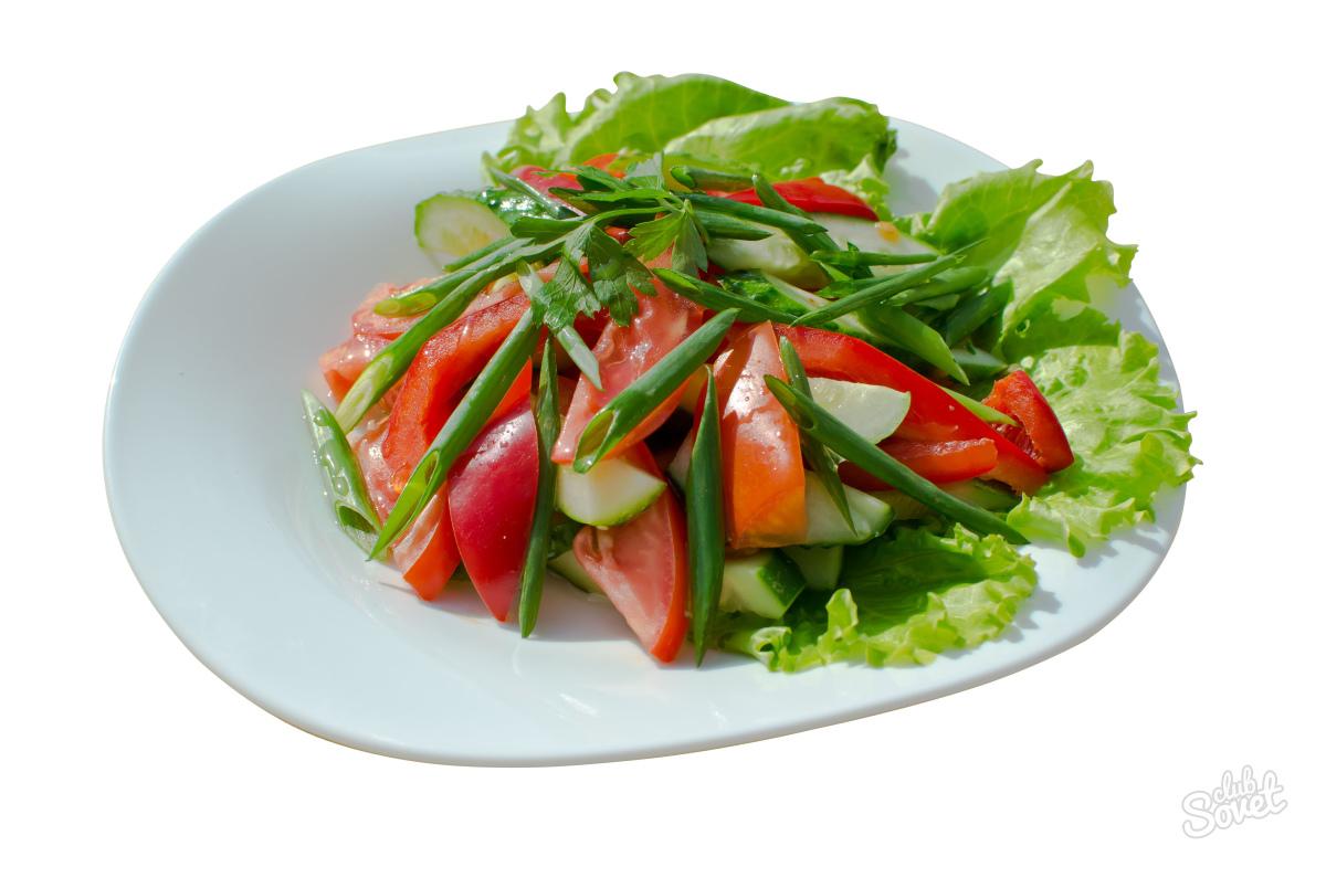Салат из помидор и огурцов свежих и
