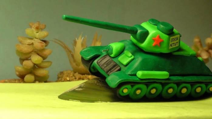Как сделать танк т 34 из пластилина