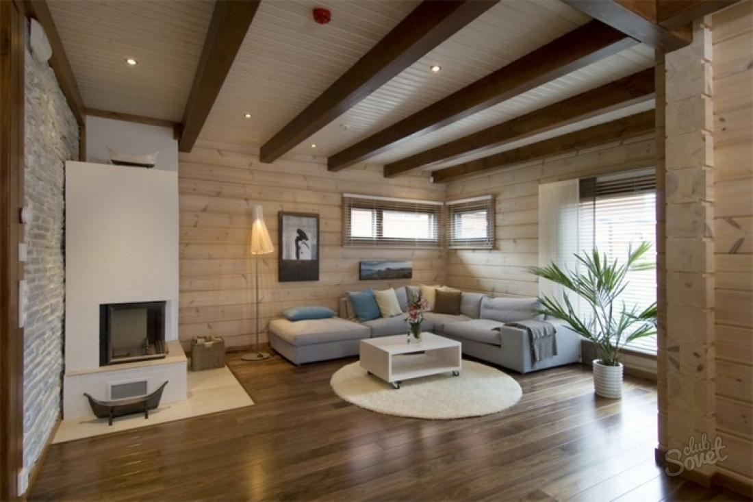Дизайн гостиной деревянного дома фото