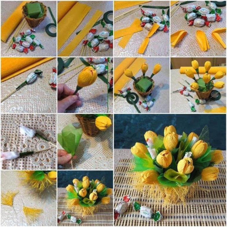 Простые цветы из конфет своими руками пошаговое фото для начинающих