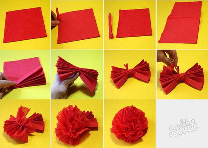 Цветы из салфеток своими руками как сделать видео