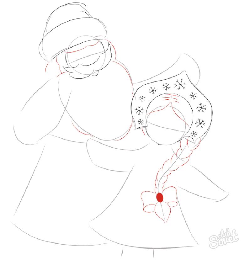 Как нарисовать деда мороза и снегурочку для