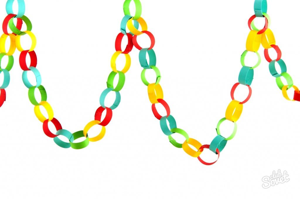 75Как сделать елочную цепь из цветной бумаги сочинение
