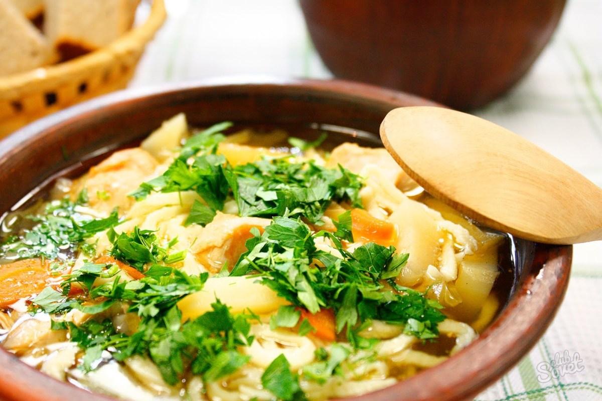 Домашний куриный суп с лапшой пошаговый рецепт