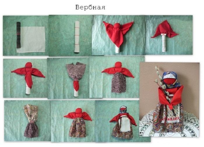 Как сделать куклу из ткани и ниток  куклы159