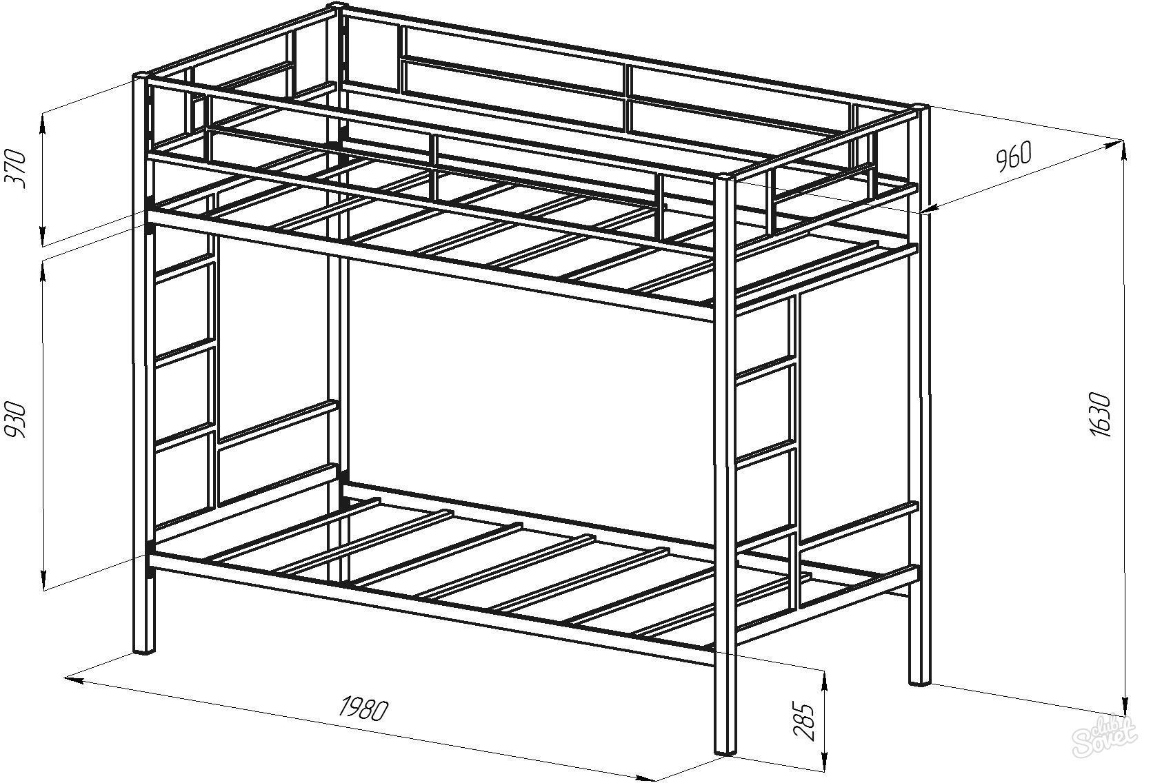 Двухъярусная кровать из профильной трубы своими руками чертежи 66