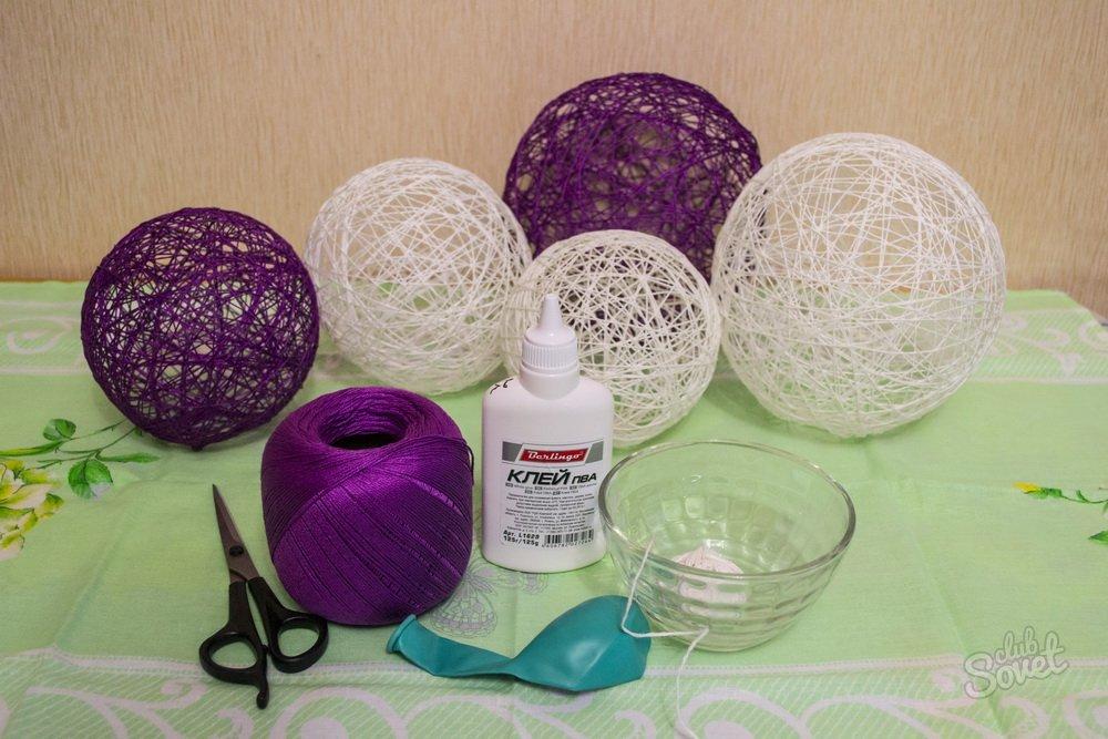 Как сделать шар из ниток и шарика и клея