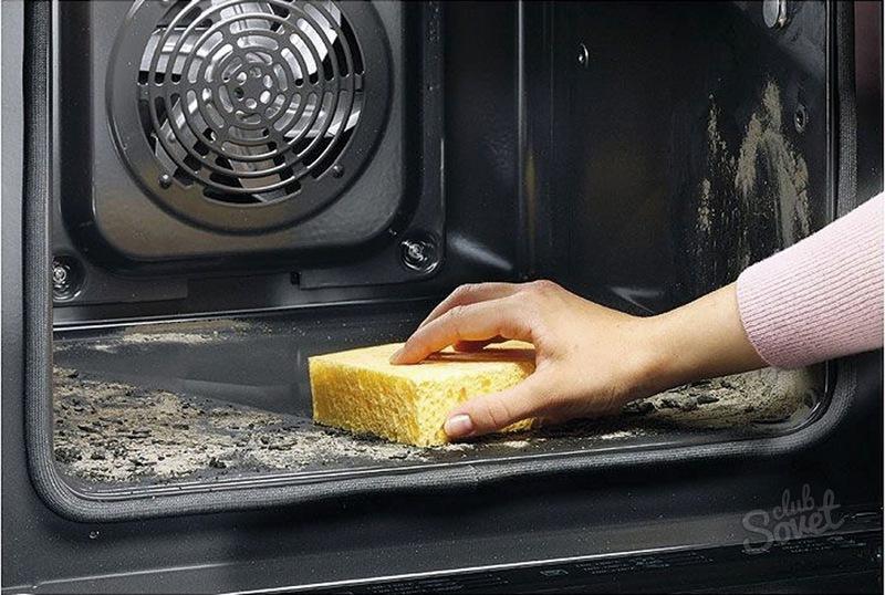 Как отмыть электродуховку от жира внутри в