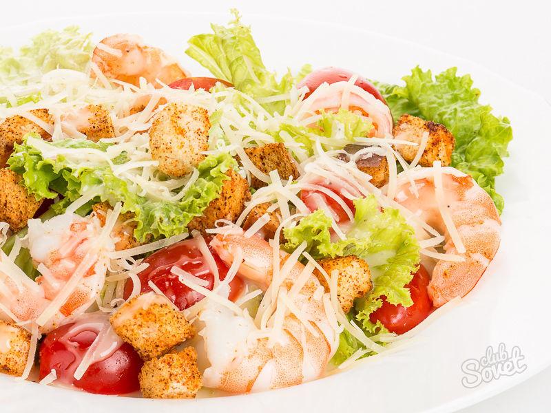 Салат цезарь с креветками классический рецепт с фото пошагово