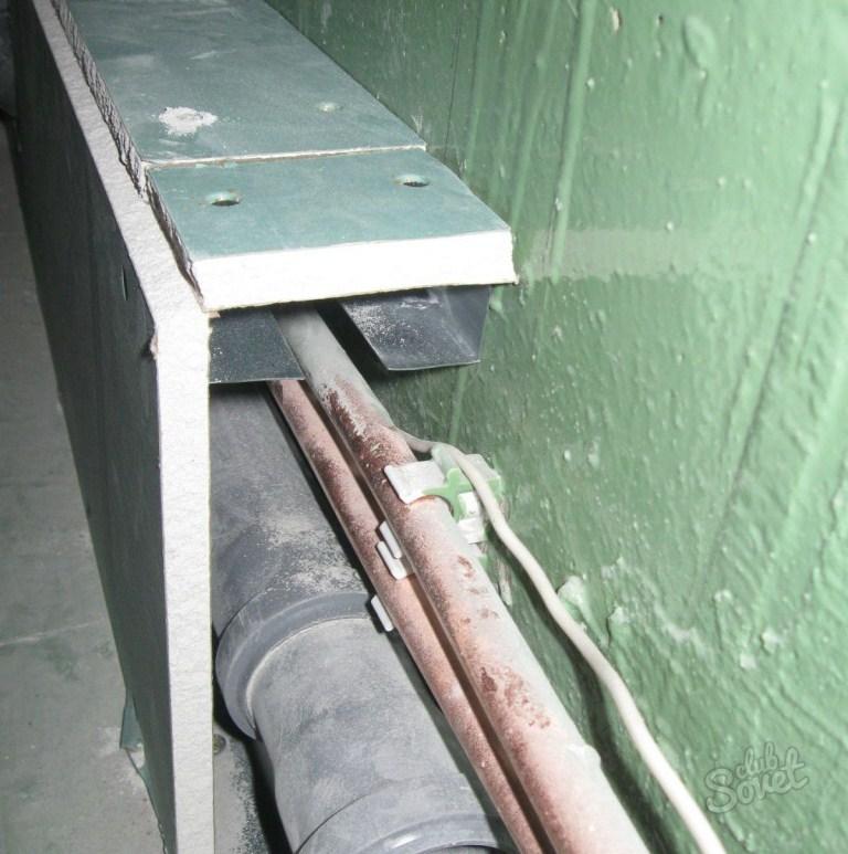 Ванная комната короб для труб из профилей