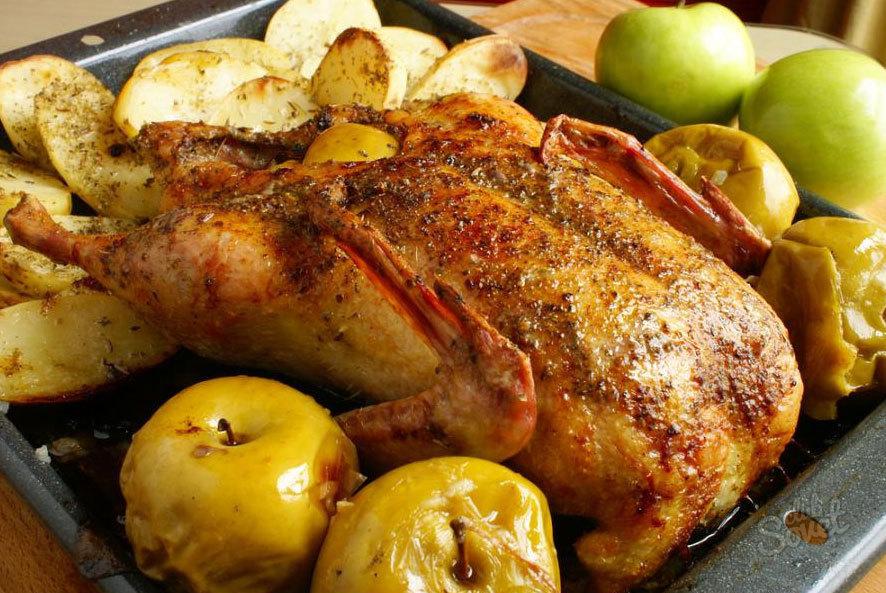 Рецепт с гуся с яблоками в духовке рецепт в рукаве