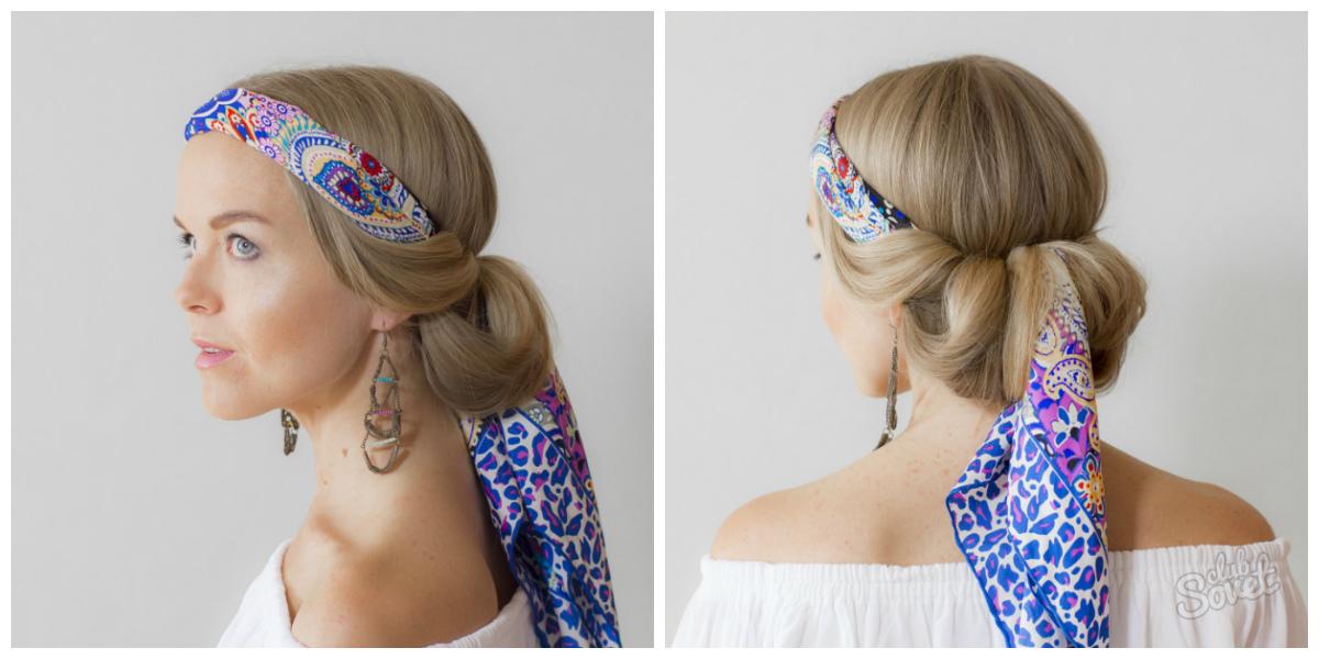 картинки причесок на средние волосы косынка